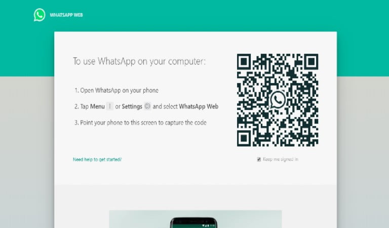 whatsapp web front page
