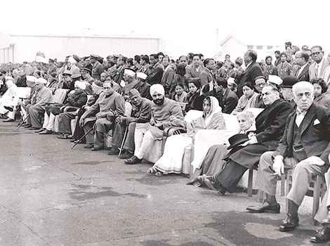 Dr. B. R. Ambedkar among other dignitaries at Indias first Republic Day parade 7th from right